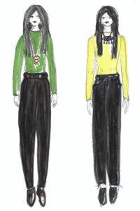 Modeskizze schwarz mit Farbe