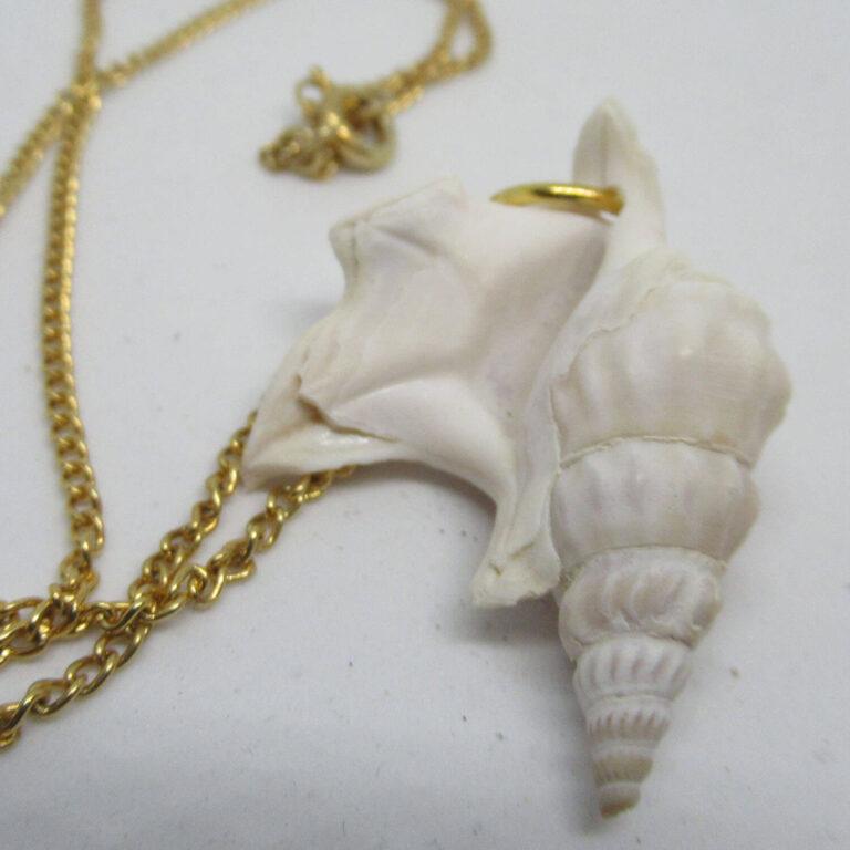Weißer Pelikanfuss als Kettenanhänger