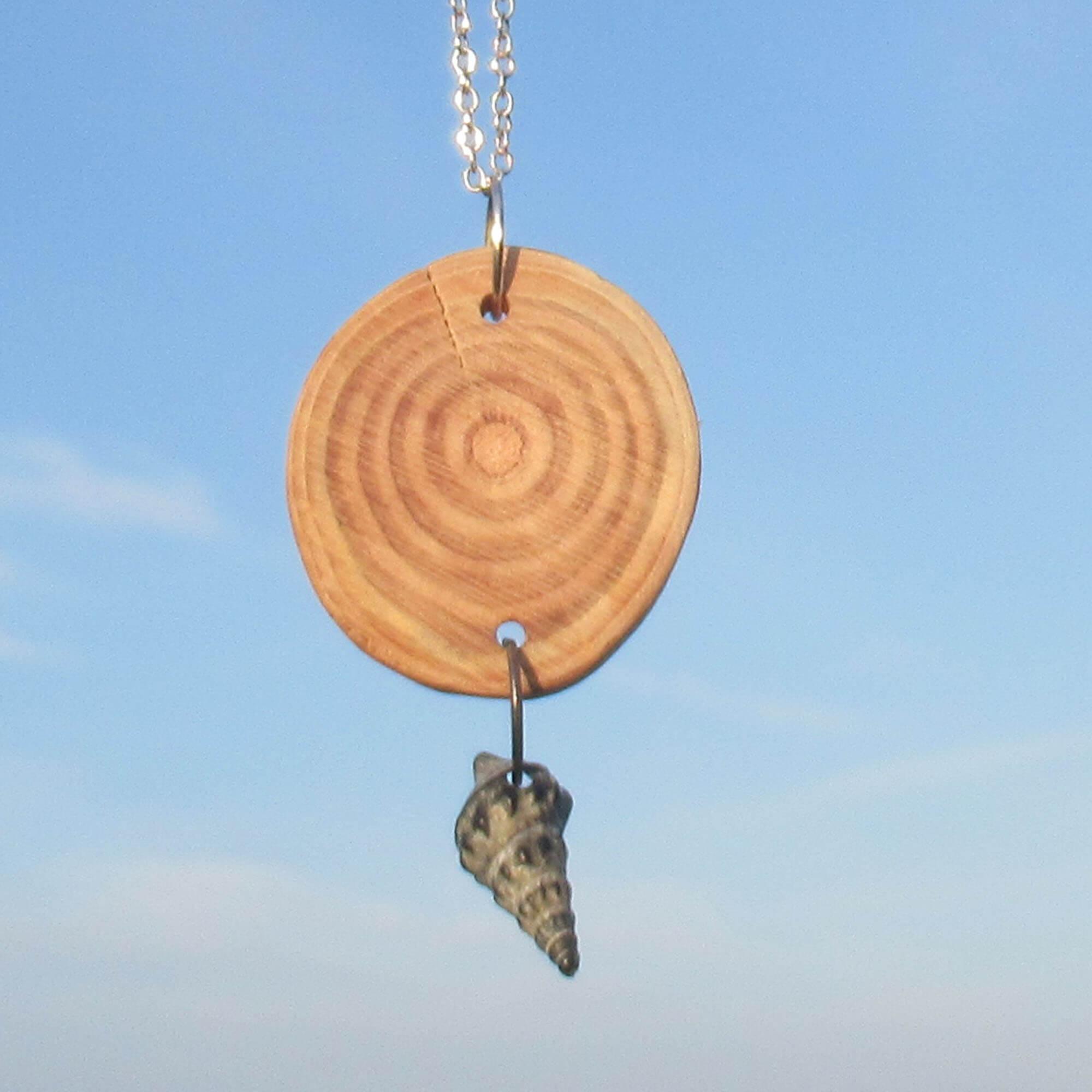 Rundes Treibholzstückchen mit Mini-Schneckenmuschel